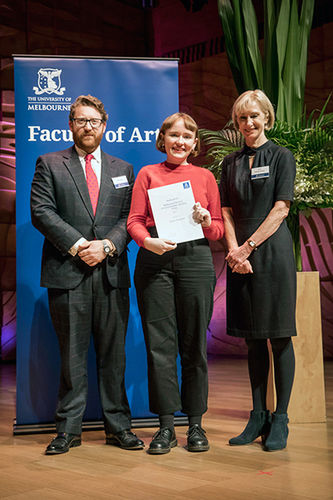 Mr John Myers, Chair, MWF Board and Professor Denise Varney, Dean, Faculty of Arts with prize winner Greer Clemens