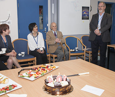 Staff of MDS celebrating Prof Atkinson's 102nd birthday