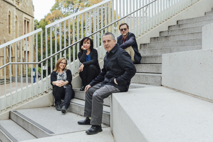 Composition academic staff, from left to right: Dr Katy Abbott Kvasnica, Dr Miriama Young, Professor Stuart Greenbaum, and Associate Professor Elliott Gyger. Image: Lauren Dunn