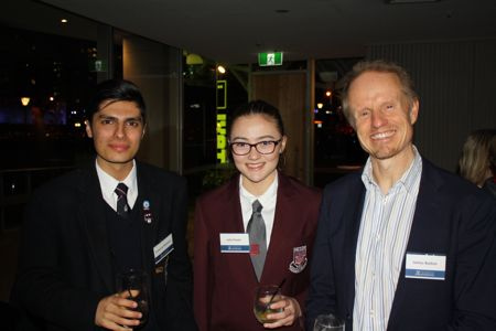Cameron Warasta and Julia Payne, who received Honourable Mentions for the Prize, with James Button.