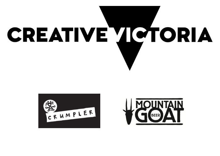 Sponsors logos for the FTV 50th Anniversary - Creative Victoria, Crumpler and Mountain Goat