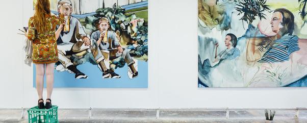 Renee Estee installing works for the 2015 Art Graduate Exhibition. Photo: Drew Echberg.