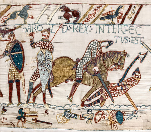 A segment of the Bayeux Tapestry depicting Odo, Bishop of Bayeux, rallying Duke William's troops during the Battle of Hastings in 1066.